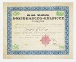 [GOETZ] GÖTZ Jan - współzałożyciel Browaru Okocim. Dyplom przyjęcia Jana Götza [Goetza] na członka czynnego Cesarsko Królewskiego Towarzystwa Gospodarczo-Rolniczego w Krakowie, dat. 27 VI 1856