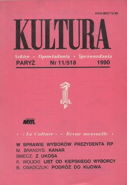 Kultura. Szkice, opowiadania, sprawozdania. Nr 11/518: XI 1990.