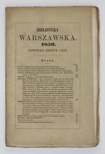 BIBLIOTEKA Warszawska.Pismo poświęcone naukom, sztukom i przemysłowi. R. 1850, t. 4, zesz. 119
