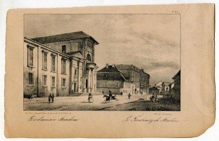 [KRAKÓW]. Przedmieście Stradom. Le Faubourg de Stradom. Litografia form. 10,9x17,9 na ark. 15,2x24,4 cm.