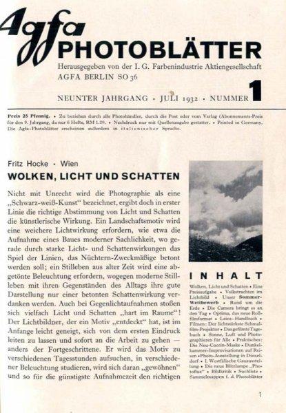 AGFA Photoblätter. Jg. 9, nr 1-6: VII-XII 1932.