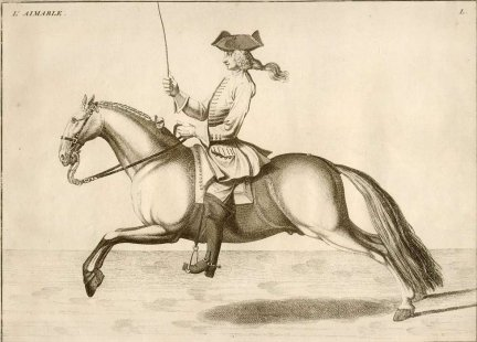 EISENBERG - L'Art de Monter a Cheval, ou Description du Manege Moderne, dans sa Perfection [...]. Ecrit et Dessine par ..., et Grave par B. Picart. Amsterdam et Leipzig 1759. Chez Arkstee et Merkus.  - L'Aimable. Miedzioryt czarno-bialy form. 22,5x30,5 cm