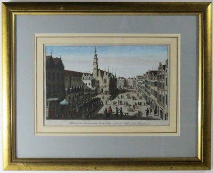 [WROCŁAW]. Abbildung der Breslauischen Markt-Seite nach der Ohlauischen Strasse, A-o 1730. Miedzioryt kolorowany.