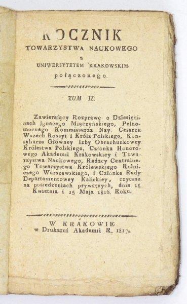 ROCZNIK Towarzystwa Naukowego z Uniwersytetem Krakowskim Połączonego. T. 2: 1817.