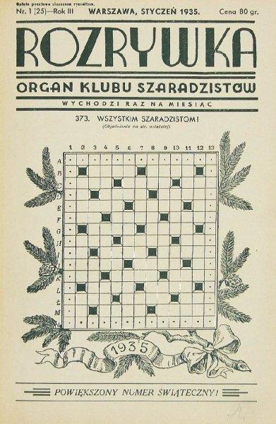Rozrywka. Organ Klubu Szaradzistów. R.3: 1935.