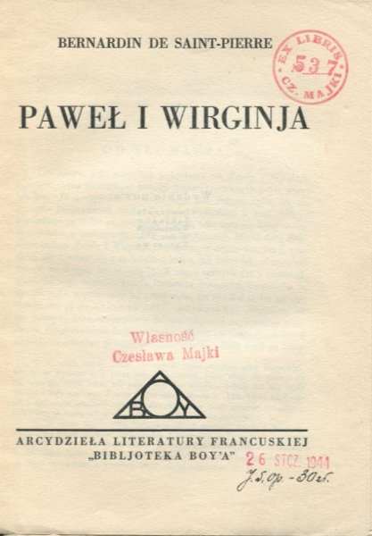Saint-Pierre  Bernardin de - Paweł i Wirginia. Przeł. Boy. [1930].