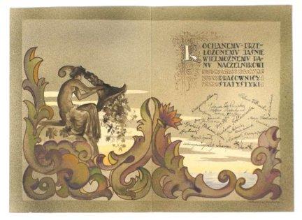 [DYPLOM]. Ozdobny dyplom dla niewymienionego z nazwiska naczelnika od pracowników Statystyki, dat. na oprawie 19 III 1927.