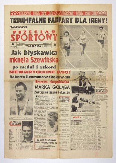 PRZEGLĄDSportowy. Warszawa. folio. numery luzem. Ślady złożenia, poza tym stan dobry.Nr 132 (5036): 19 X 1968.