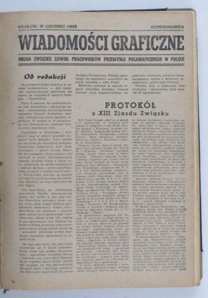 Wiadomości Graficzne. Organ Związku Zawodowego Pracowników Przemysłu Poligraficznego w Polsce. R. 1945-1949.