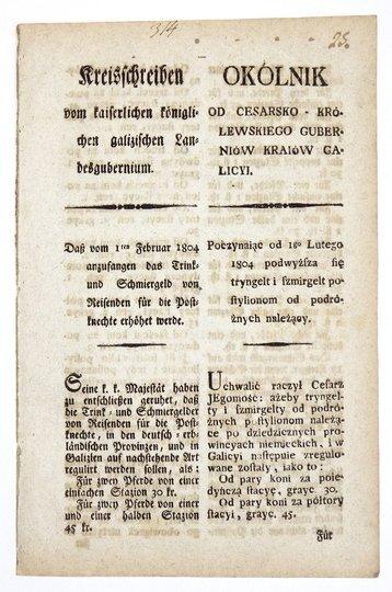 OKÓLNIKod Cesarsko-Królewskiego Guberniów Kraiów Galicyi. Poczynaiąc od 1go Lutego 1804 podwyższa się tryngelt i szmirgelt pocztylionom od podróżnych należący [...].