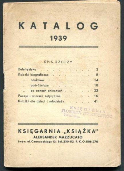 Księgarnia Książka Aleksander Mazzucato - katalog 1939