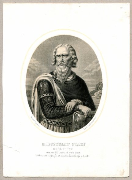 Mieczysław Stary - Król Polski - litografia [Rys. Aleksander Lesser. Lit. H.Aschenbrenner]