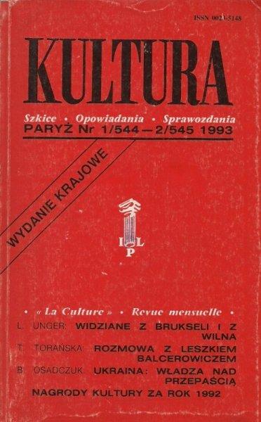 Kultura. Szkice, opowiadania, sprawozdania. Nr 1/544-2/545: I-II 1993.