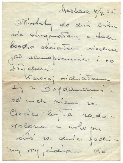 [Fogg Mieczysław] - Zbiór 4 odręcznych listów do nieznanej adresatki, dat. w 1955.