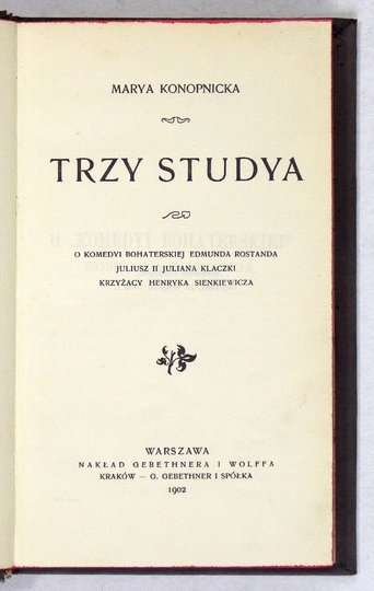 KONOPNICKA Marya - Trzy studya.