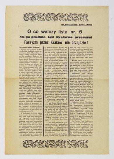 O COwalczy lista nr. 5. 18-go grudnia Lud Krakowa przemówi! Faszyzm przez Kraków nie przejdzie! Do Ludności miasta Krakowa! Wybory samorządowe [...] posiadają wielkie znaczenie. Przez pięć lat mieszkańcy Krakowa nie mieli żadnego głosu w sprawach swego m