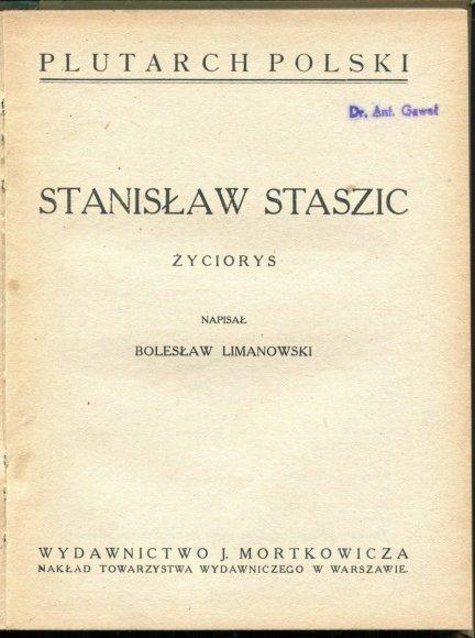 Limanowski Bolesław - Stanisław Staszic. Życiorys