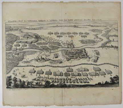 [ŚCINAWA]. Eigentlicher Abriss der Steinawer Schantz in Schlesien, sampt dem daselbst gehaltenen Treffen Anno 1633. Miedzioryt z akwafortą 20,6x34,9 cm.