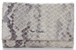 Skórzany Portfel Damski firmy Pierre Cardin motyw Węża Beżowy