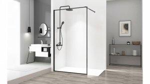 REA - Ścianka prysznicowa BLER 80 cm black/czarna