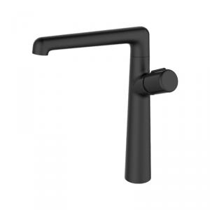 LAVEO - Bateria umywalkowa wylewka L czarna wysoka z korkiem klik-klak PRETTO BAO 725D