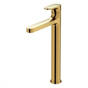 CERSANIT - Bateria umywalkowa sztorcowa wysoka INVERTO złota, uchwyty 2 design in 1: złote S951-298