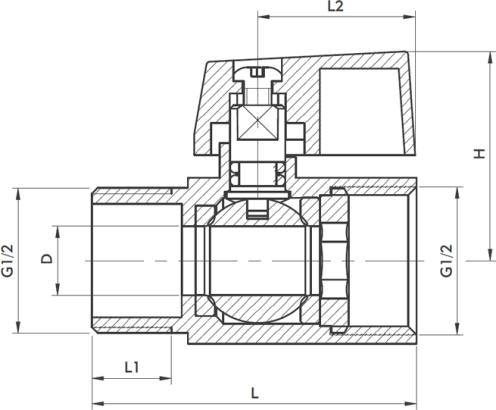 """ARMATURA KRAKÓW -zawór wodny """"mini"""", nakrętno-wkrętny 703-210-15"""