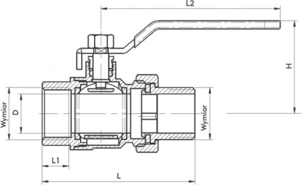 ARMATURA KRAKÓW - zawór wodny, pełnoprzepływowy, nakrętno-nakrętny z dławikiem 700-211-25