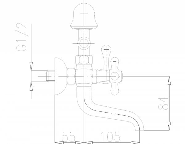 ARMATURA KRAKÓW - Retro Bateria wannowa ścienna 374-144-00