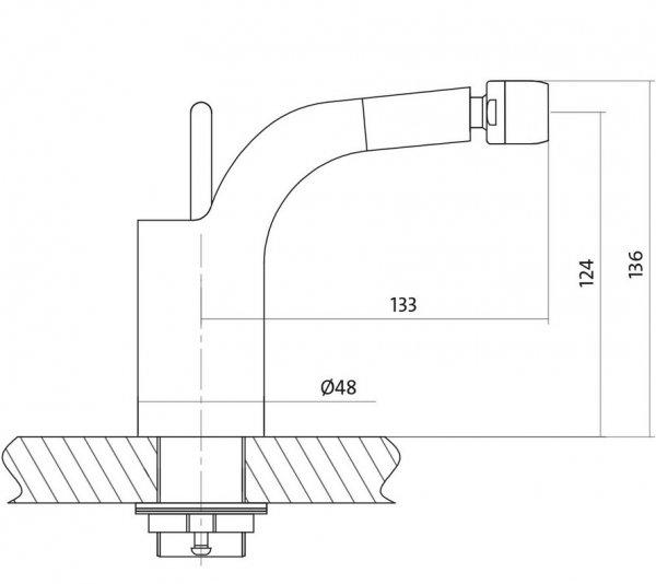 CERSANIT - Bateria bidetowa stojąca LUVIO z korkiem automatycznym klik-klak DESIGN S951-017