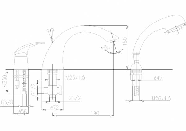 ARMATURA KRAKÓW - Ametyst Bateria wannowa 3- otworowa 405-210-00