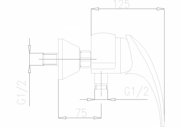 ARMATURA KRAKÓW - Ametyst bateria natryskowa ścienna 406-010-00