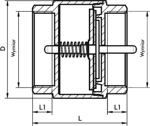 ARMATURA KRAKÓW - zawór zwrotny do wody z mosiężnym grzybkiem 710-010-15