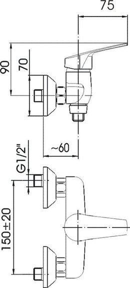 ARMATURA KRAKÓW - RODON natryskowa ścienna 456-020-00