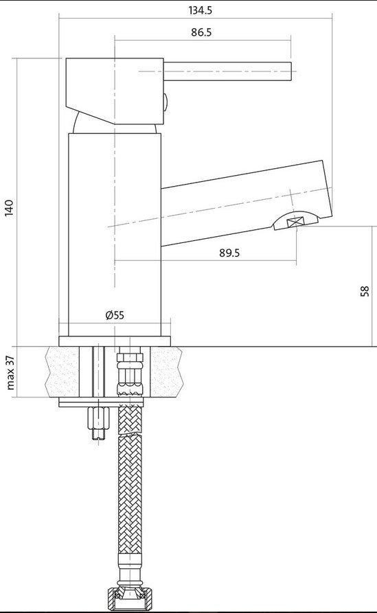 CERSANIT - Bateria umywalkowa stojąca z korkiem SIMI Basic S951-039