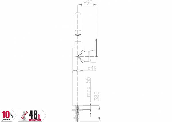 ARMATURA KRAKÓW - Cyrkon Bateria umywalkowa stojąca 582-712-00