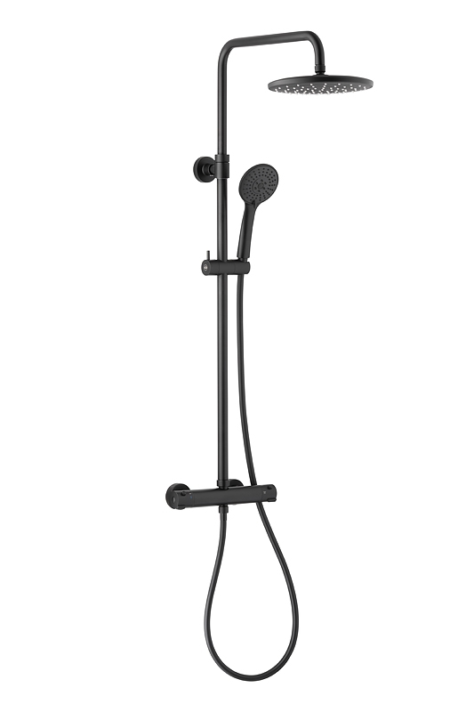 ARMATURA KRAKÓW - Zestaw natryskowy MOZA deszczownia z baterią termostatyczną black/czarna mat 5736-910-81 NOWOŚĆ