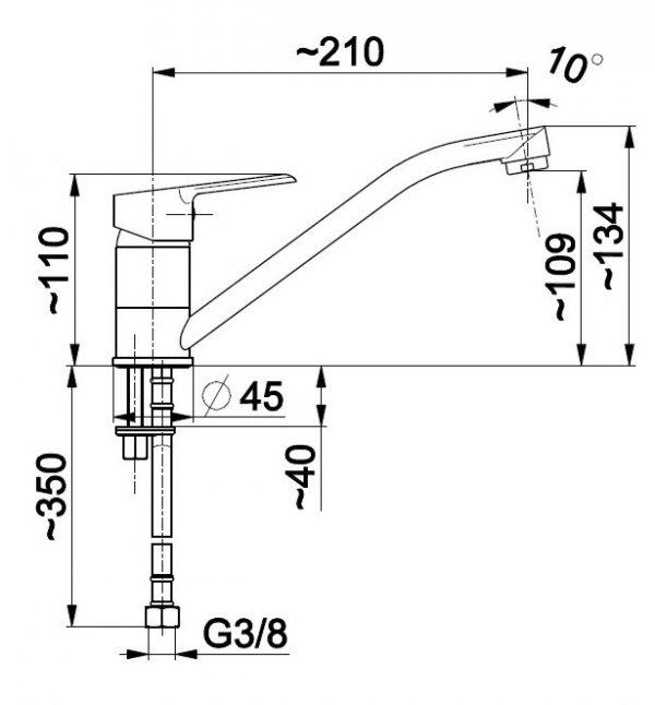 ARMATURA KRAKÓW - Bateria jednouchwytowa, zlewozmywakowa stojąca SEELIT 5813-915-00