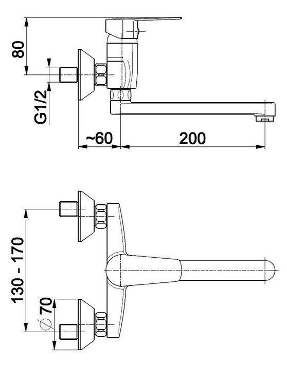 ARMATURA KRAKÓW - Bateria jednouchwytowa, zlewozmywakowa ścienna SOFIT 5110-910-00
