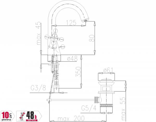 ARMATURA KRAKÓW - Retro Classic Bateria umywalkowa stojąca 382-325-00