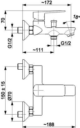 ARMATURA KRAKÓW KFA Bateria wannowa ścienna z natryskiem punktowym AGAT 4424-510-00