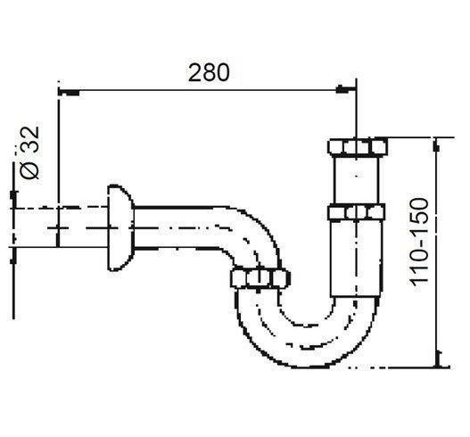ARMATURA KRAKÓW - Syfon umywalkowy rurowy mosiądz bez korka 604-454-00