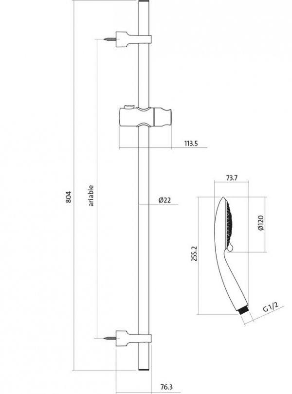 CERSANIT - Zestaw natryskowy SENTI z drążkiem S951-020