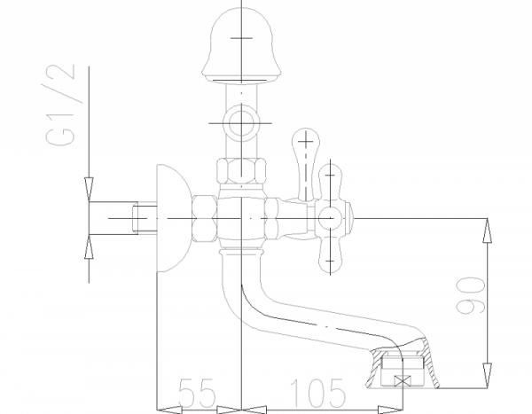 ARMATURA KRAKÓW - Retro Bateria wannowa ścienna z napowietrzaczem 374-145-00