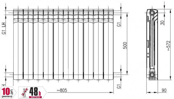 ARMATURA KRAKÓW - Grzejnik aluminiowy G500F 789-100-44