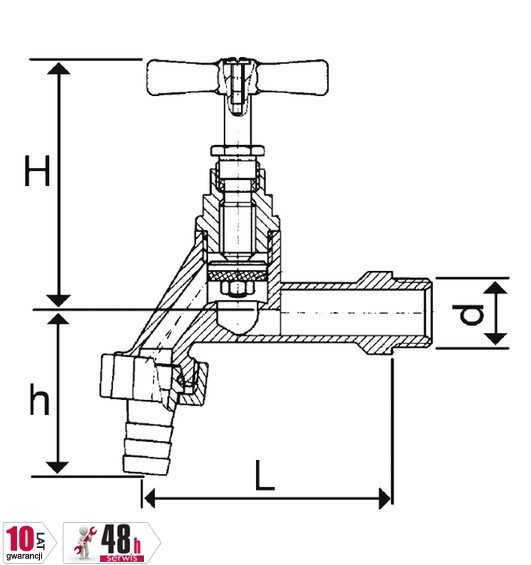 ARMATURA KRAKÓW - Zawór wodny, wypływowy czerpalny 1/2 ze złączką węża 190-212-07