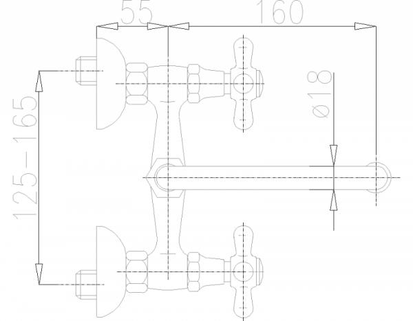 ARMATURA KRAKÓW - Retro Bateria umywalkowa ścienna 370-340-00