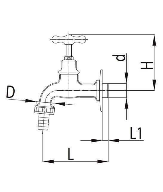 ARMATURA KRAKÓW - Zawór wodny, wypływowy 3/4 ze złączką do węża G1 CHROM POLER 110-034-96