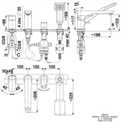 ARMATURA KRAKÓW - MOKAIT bateria wannowa 4-otworowa 5535-210-00