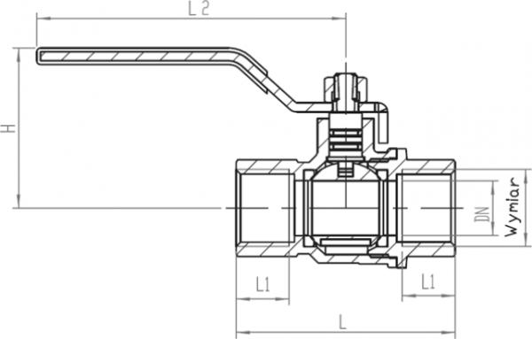 ARMATURA KRAKÓW - kurek kulowy do gazu, nakrętno-nakrętny z dźwignią 730-110-40
